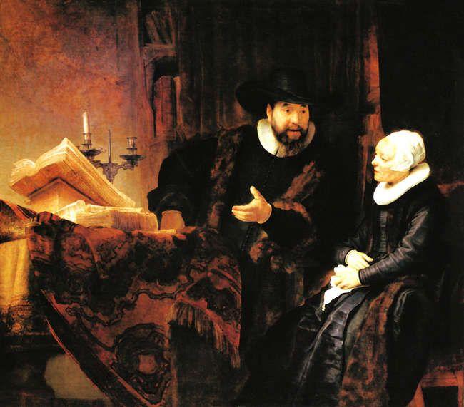 Anslo-Rembrandt- Dove verf?  De relatie tussen Rembrandt en Vondel in historisch perspectief⋆   'Ay, Rembrand, mael Kornelis stem. Het zichtbre deel is 't minst van hem.' Dit zijn de eerste regels van een epigram dat Vondel schreef op een portret door Rembrandt van de doopsgezinde predikant Cornelis Anslo.