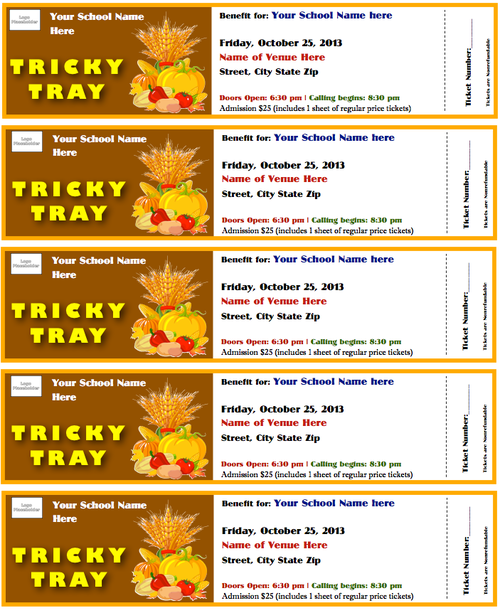 Tricky Tray Tickets Template Fall Theme Card stock Trays and