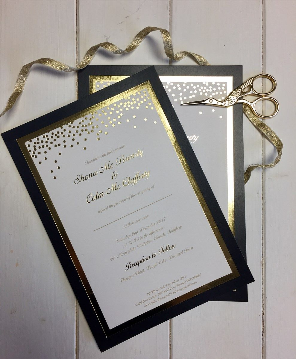 Gold confetti and black tie foil wedding invitation foil wedding monthly round up december stopboris Image collections
