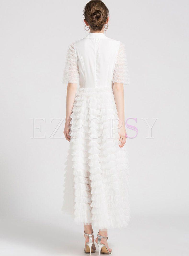 White Sweet Stitching Gauze Layered Dress Layer Dress Dresses White Maxi Dresses [ 1066 x 789 Pixel ]