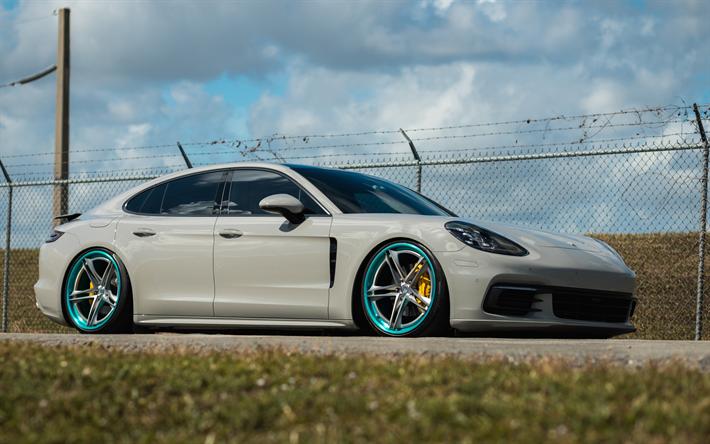 Download Wallpapers Porsche Panamera 2017 White Sedan Tuning Sports