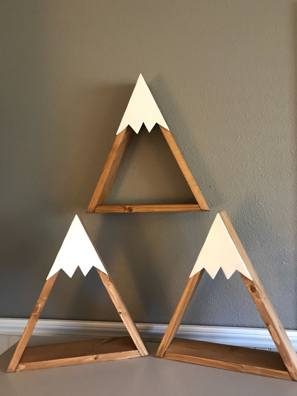Mountain shelf/SNOWCAPPED MOUNTAIN SHELVES(set of 3)/woodland nursery/shelf decor/wall hanging/little man shelves/nursery decor/shower gi