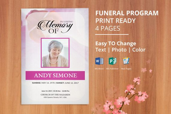 Funeral Program Template Memorial Program Obituary Program