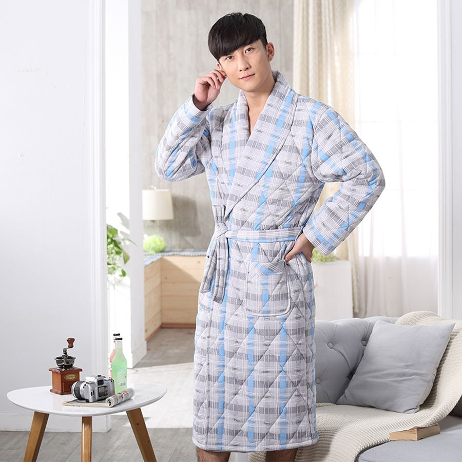 10pcs/lot woven+knitted cotton robes casual long sleeve garment