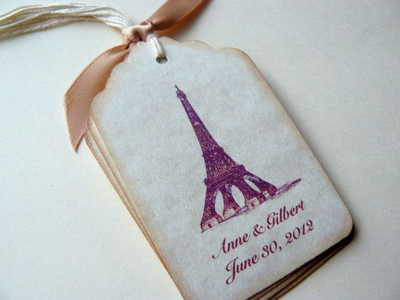 Custom Wedding Gift Tags Favors Vintage Paris Personalized Name And Date Eiffel