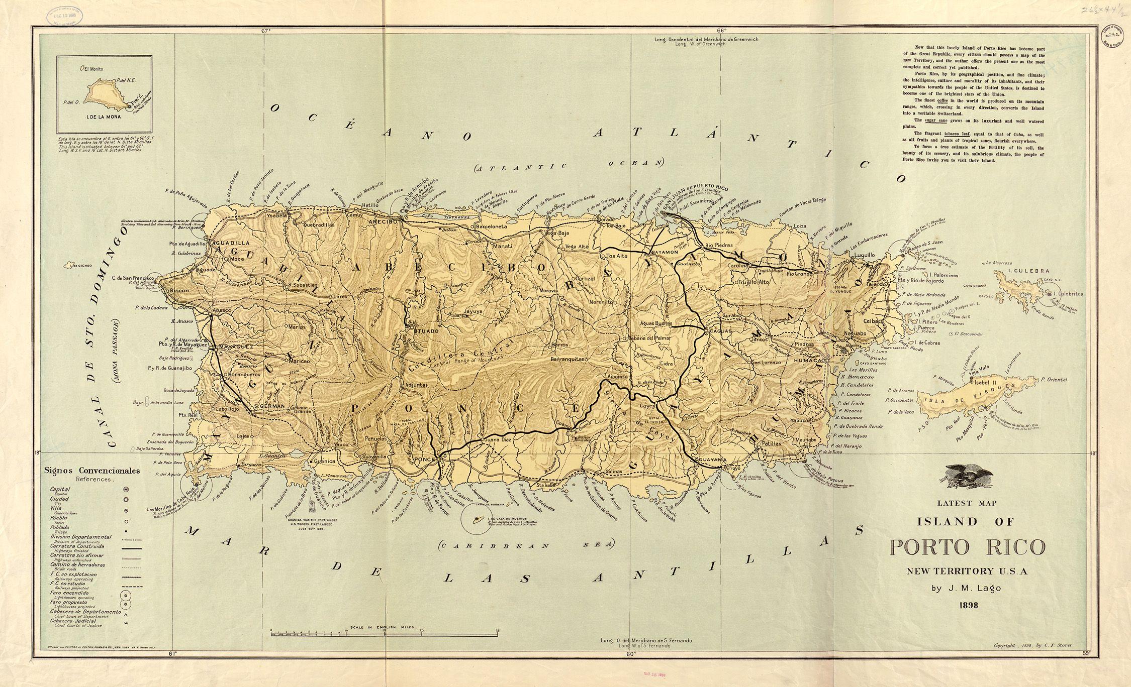 Puerto Rico Map 1898 Puerto Rico Map Puerto Rico Map