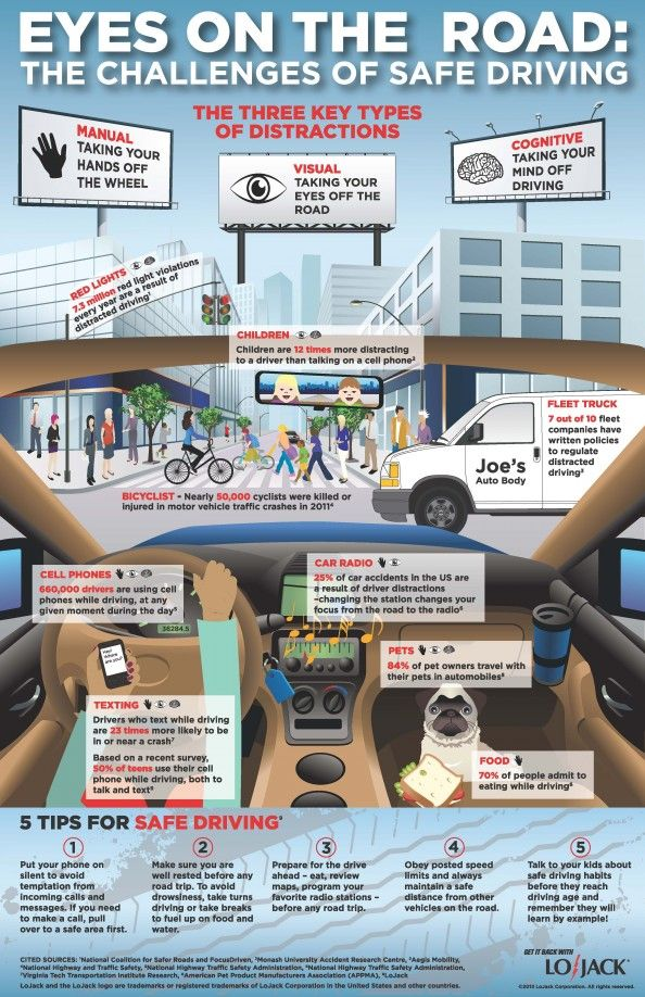 Eyes On The Road The Challenges Of Safe Driving Infographic Sve
