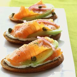 Rye Toasts with Smoked Salmon Cucumber, and Red Onion