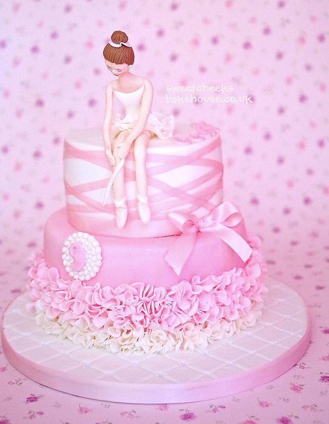 Elegant Ballerina Birthday Cake With Ribbon Birthday Cakes - Ballet birthday cake