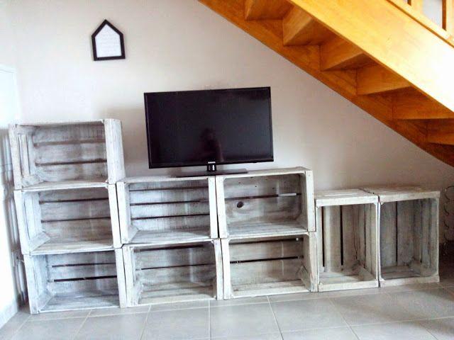 caisse en bois, diy, effet blanchi, meuble tv, bullelodie http
