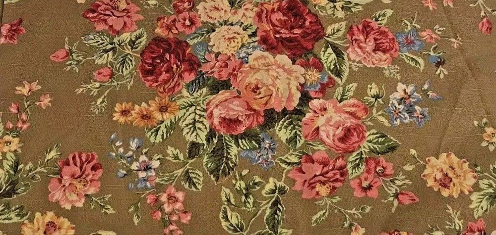 Vintage Ralph Lauren Fabric Floral Linen Blend Cabbage Rose Brown