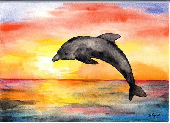 Coucher De Soleil Dauphin Peinture Aquarelle Par Jillsgallery