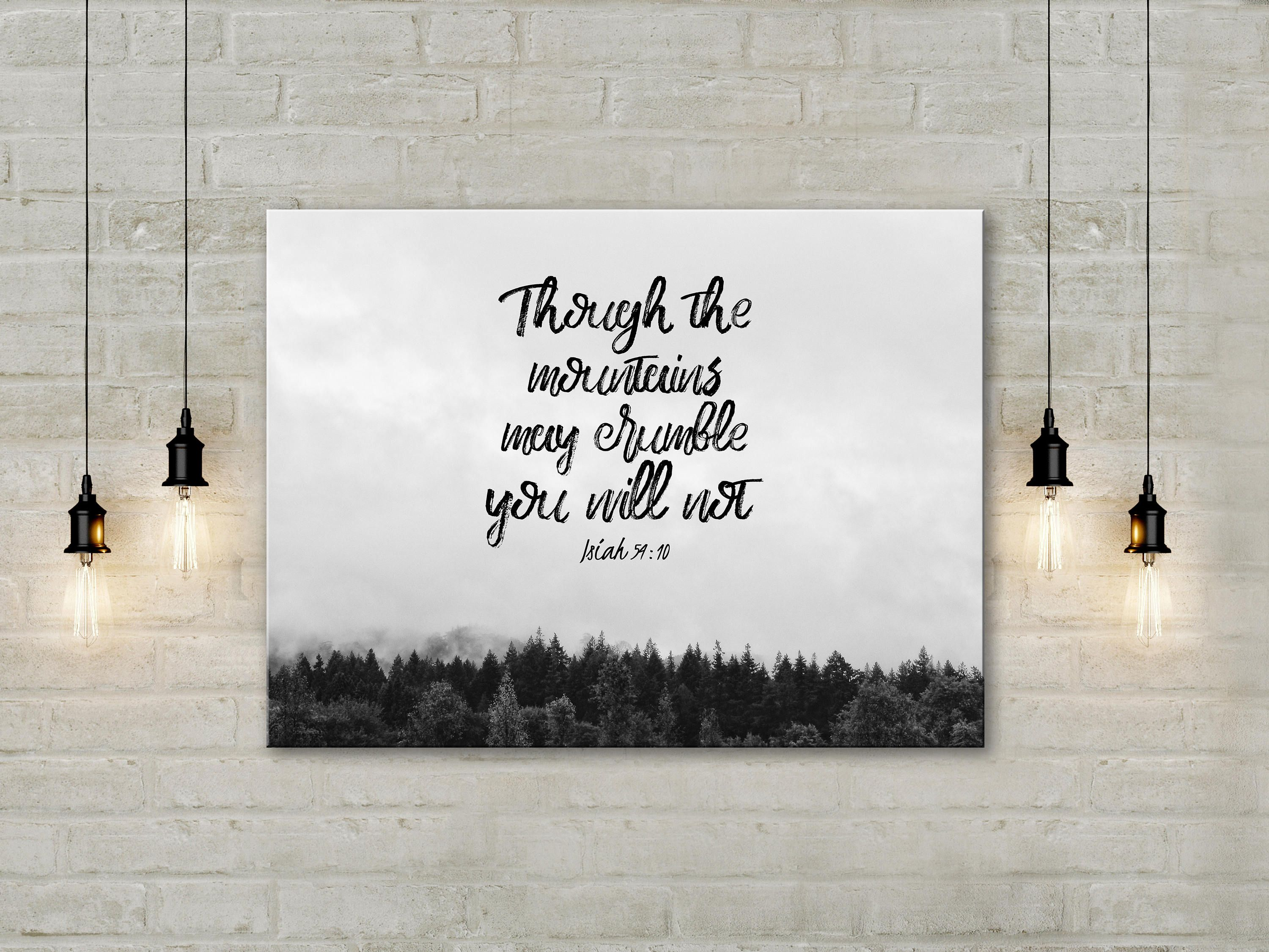 Christian Wall Art christian canvas wall art | isa 54:10 | canvas print (8x12
