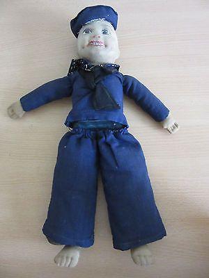 Antique-Norah-Wellings-Cloth-Navy-Sailor-Boy-Doll-14-5-034