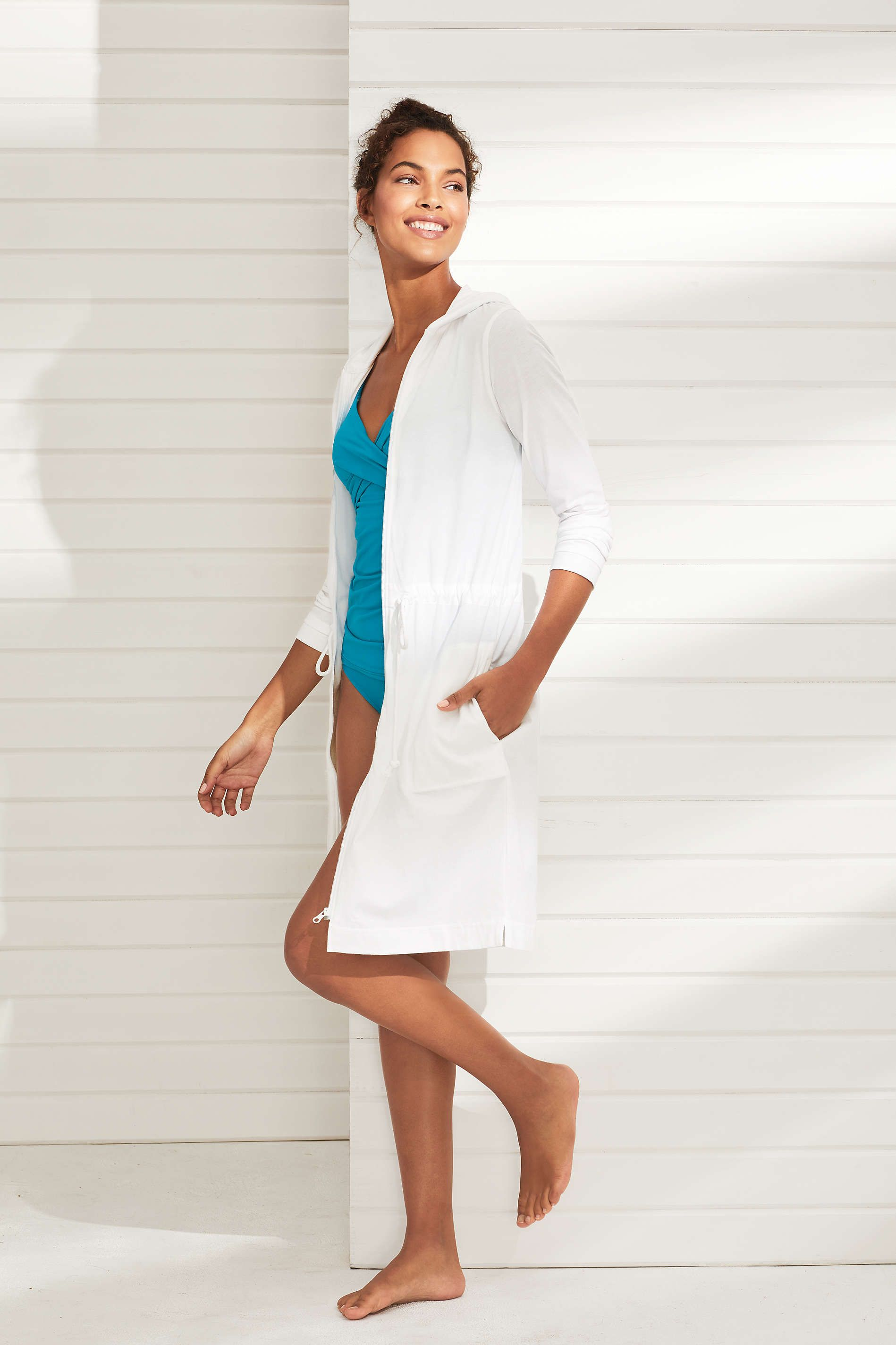 4d4a6f93bb Women's Cotton Jersey Hooded Full Zip Swim Cover-up from Lands' End ...