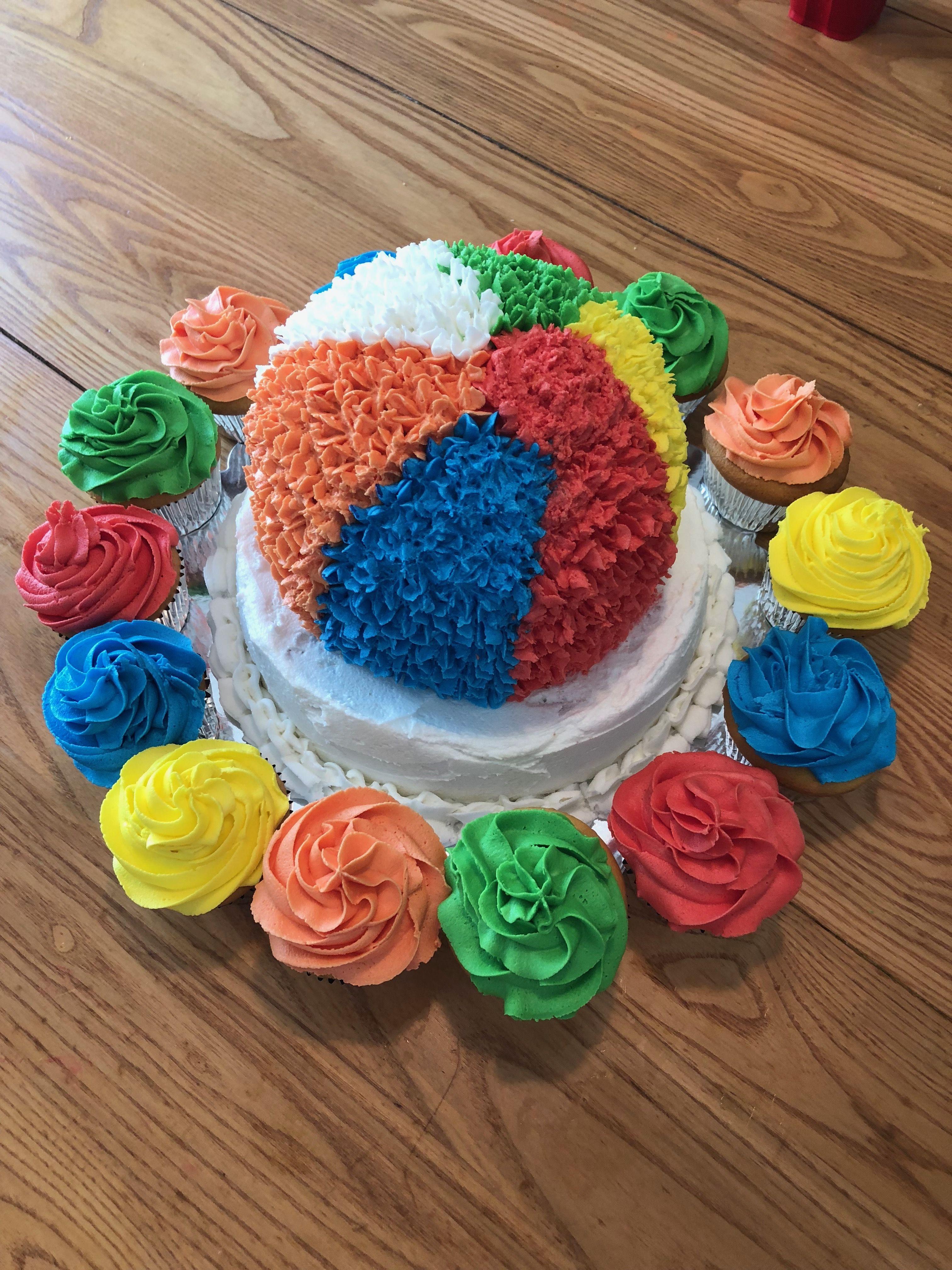 Beachball cake | Beach ball cake, Cake, Birthday cake