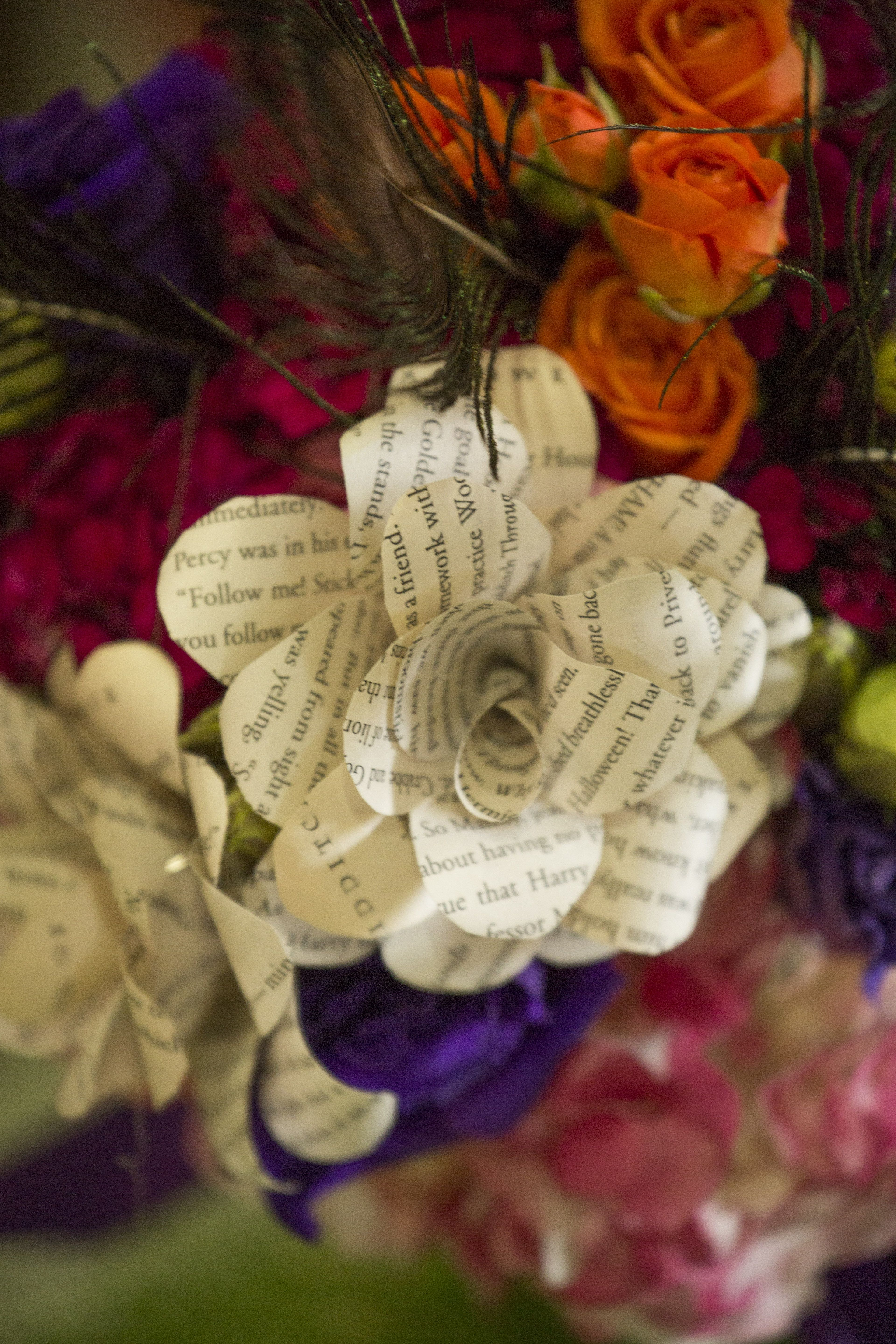 Fl Arrangements Accented With Paper Flowers Created Using Pages From Harry Potter Books