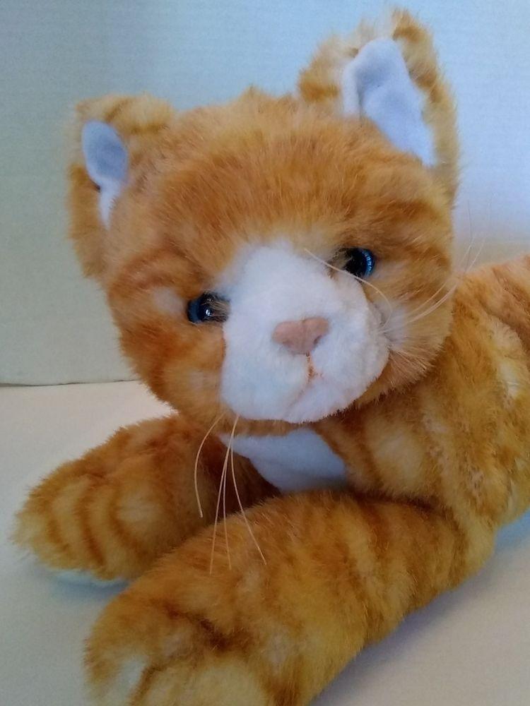 Large Realistic Orange Stripe Tabby Cat Plush Stuffed Toy Animal