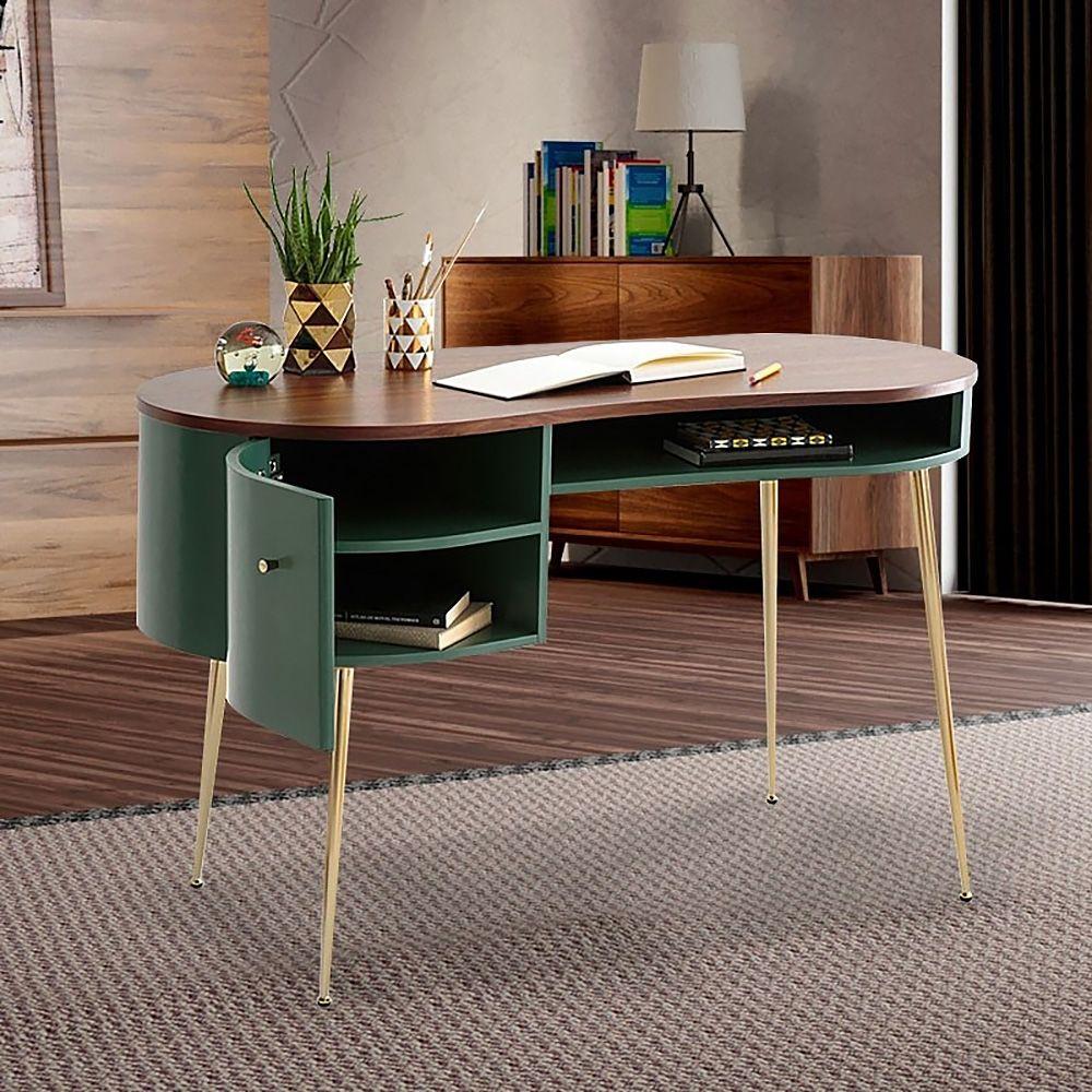 Gebogener Schreibtisch In Grun Computertisch Mit Regalen Und Aufbewahrung In 2021 Curved Office Desk Computer Desk With Shelves Mid Century Modern Office