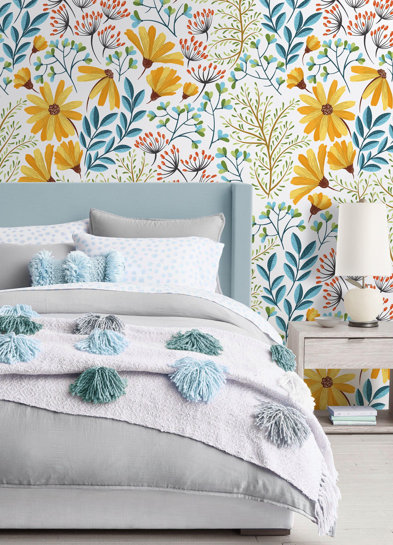 Floral Repositionable Wallpaper Peel Stick Wallpaper Self Etsy In 2020 Kids Room Wallpaper Peel And Stick Wallpaper Nursery Wallpaper