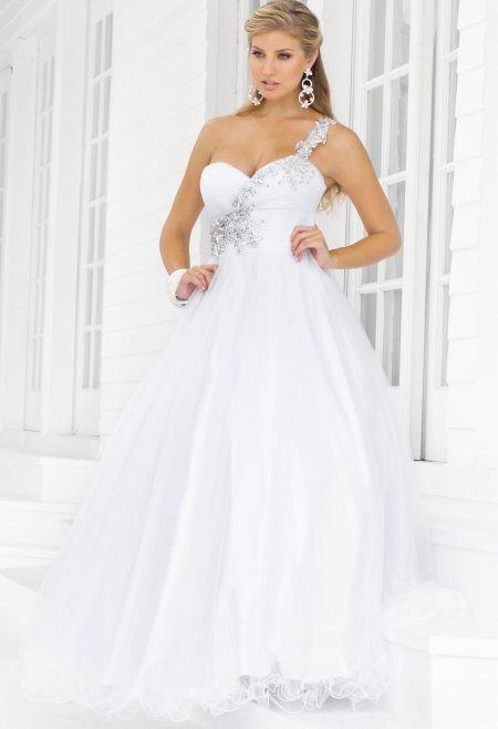 Stunning plus size white one shoulder prom gown 2014 with ...