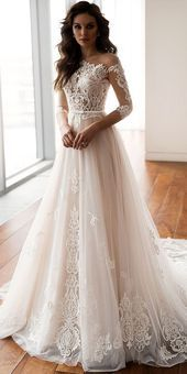 Dazzling Tulle One Shoulder Neckline A-line Wedding Dresses with Lace Appliques & Belt #tulleballgown