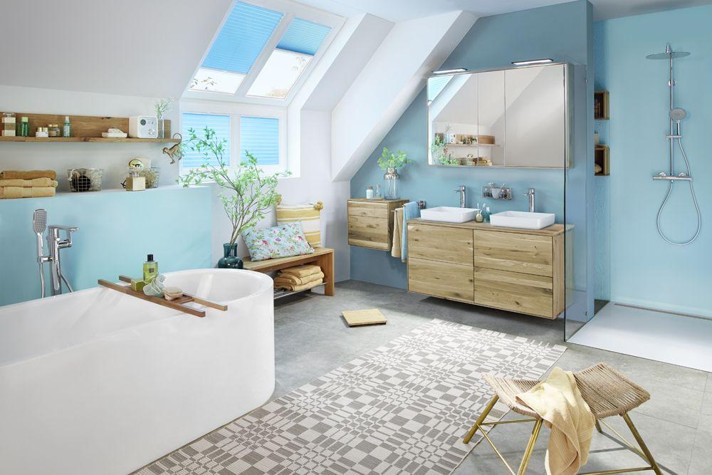 Studio3001 Fotografie Werbefotografie Bad Badezimmer Dachschrage Untermdach Dachgeschoss Blauturkis Badmobel Plissees In 2020 Modern Badezimmer Deko Ideen