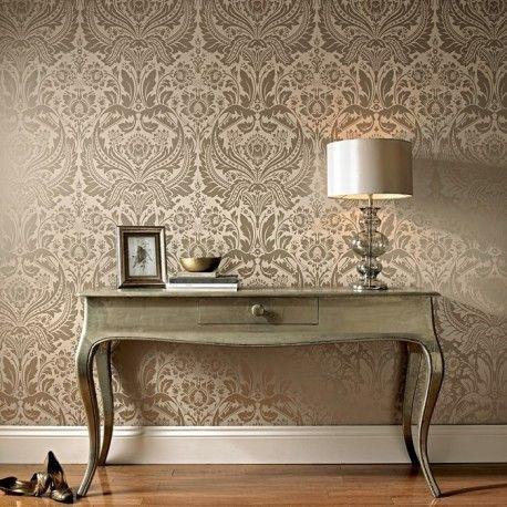 Desire Taupe Cream Wallpaper Beige Wallpaper Wallpaper Living Room Metallic Wallpaper
