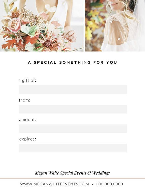 Wedding Planner Gift Card Template, Floral Designer Gift - gift certificate voucher template
