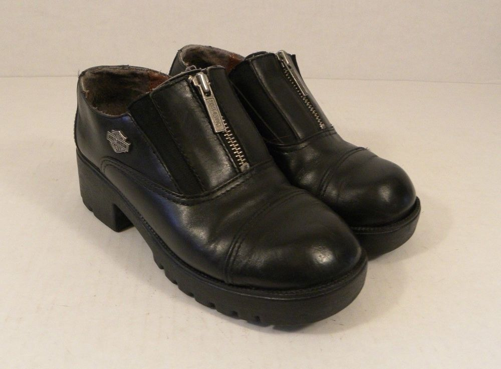 23962c67359a Motor Harley-Davidson Cycles Black Shoes Size 7 M Women 82012 Zip Up Leather   HarleyDavidson  Oxfords  Casual