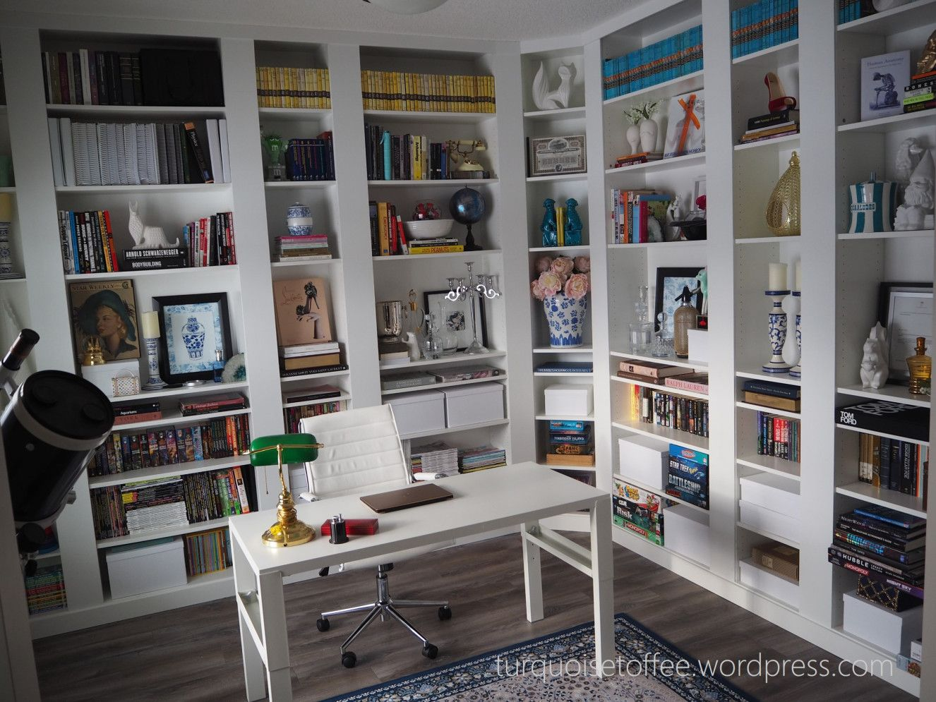 Billy bookcase builtin with corner unit diy our library