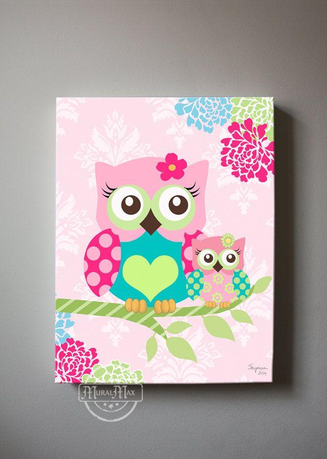 Floral Owl Nursery Wall Art Owl Canvas Art Pink Floral
