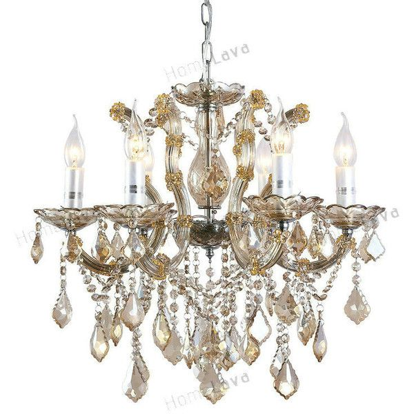 luxury crystal chandelier with 6 lights amber colored crystal chan