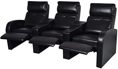 Amazing offer on Tidyard Leather Home Cinema Recliner Reclining Sofa Futon Couch 3-seat Artificial Leather Black online