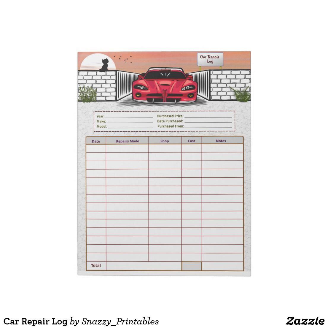Car Repair Log Notepad Car, Car shop