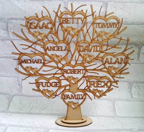 Family Tree Free Standing Family Tree Personalised Wooden Family
