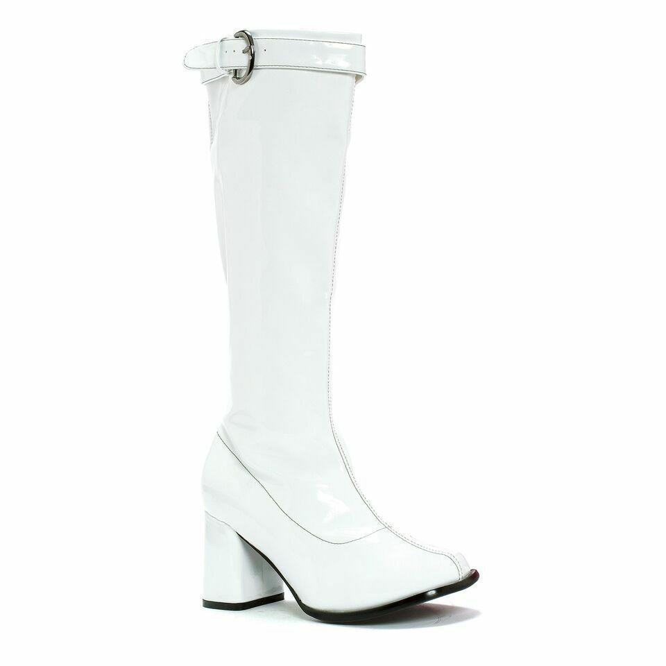 White Platform 60s 70s Hippie Disco Go Go Dancer Costume Boots Womans 8 9 10