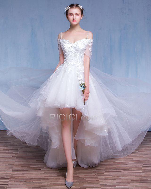 Suosikki 2017 High Low Short Front Long Back Beach Wedding: Short See Through Beach Wedding Dress Reception High-Low