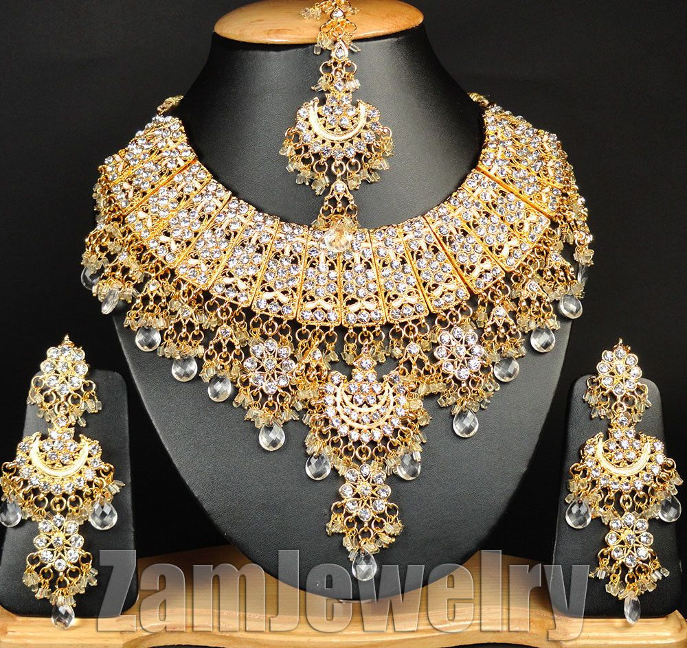 Designer Bollywood Gold Plated Jewelry Indian Kundan Bridal Necklace