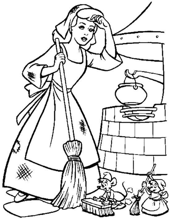 cinderella exhausted coloring page - Cinderella Coloring Pages Kids