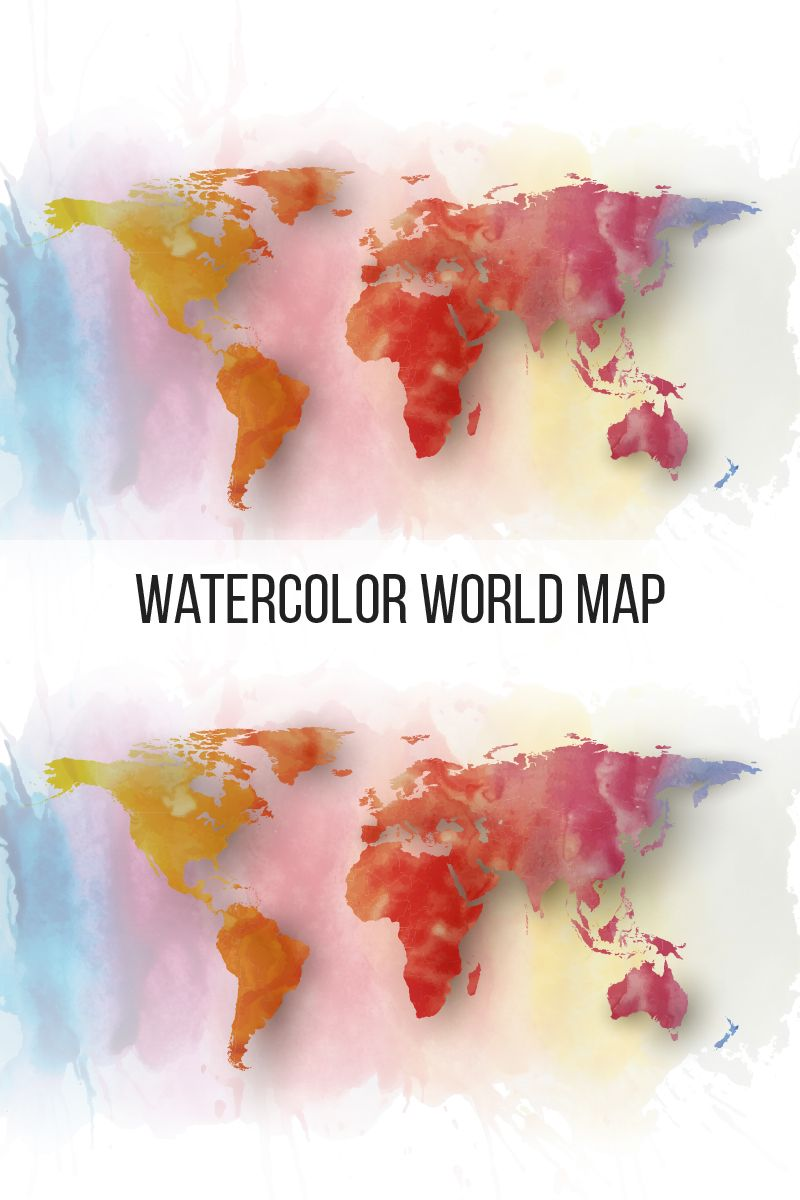 Watercolor World Map Pattern 76116 Water Color World Map