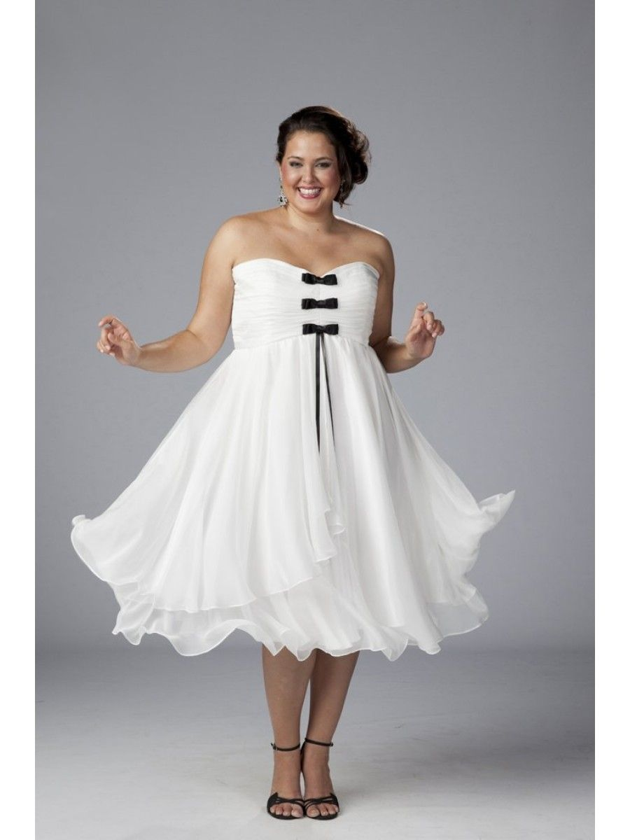 Plus Size White Sweetheart Short Evening Dresses Bridal Prom Party ...