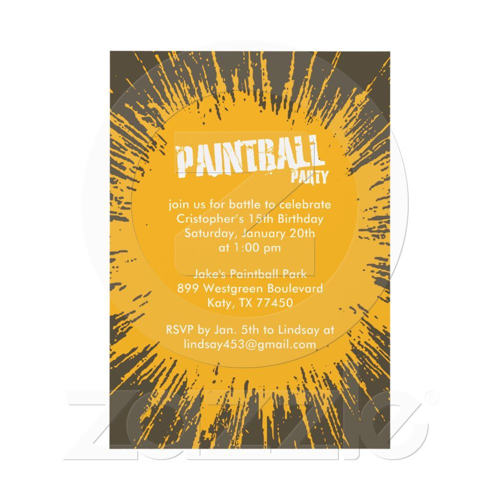 Orange Paintball Splatter Party Invitations | Paintball, Party ...