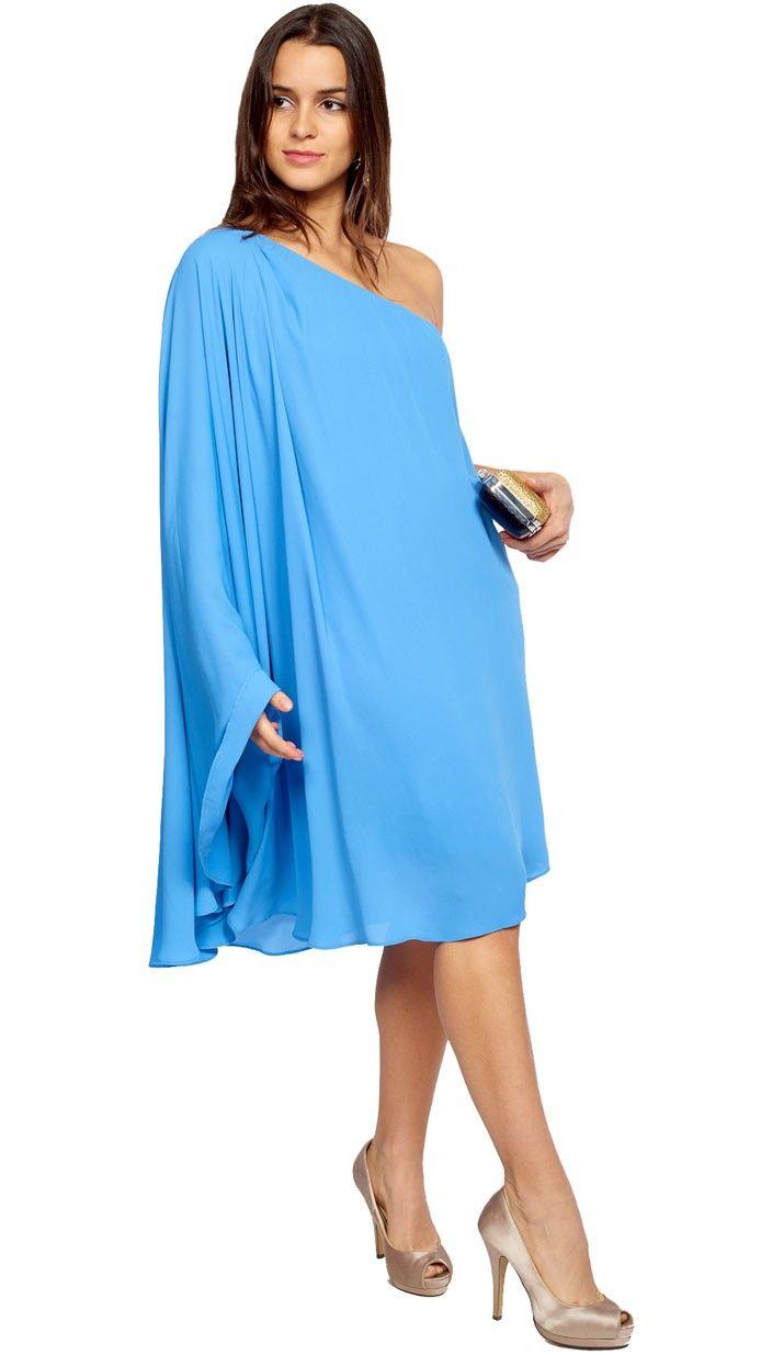 vestido tunica azul celeste para invitada de día disponible para su ...