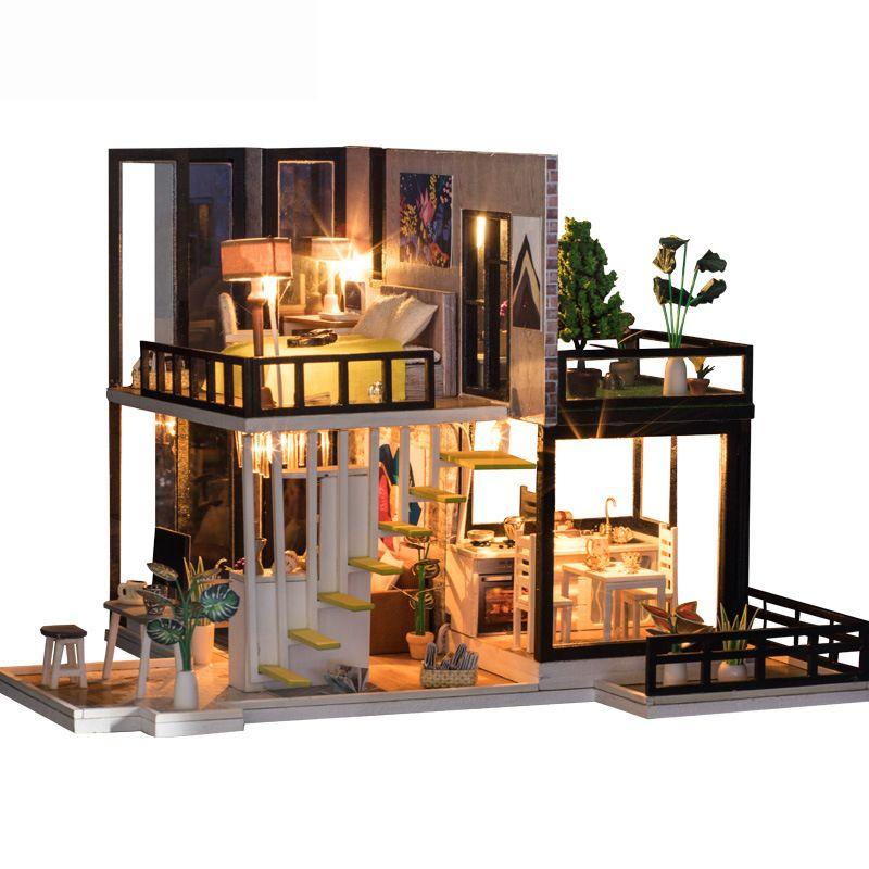 Goedkope Hot Koop DIY Poppenhuis Houten Miniatura dollhouse ...