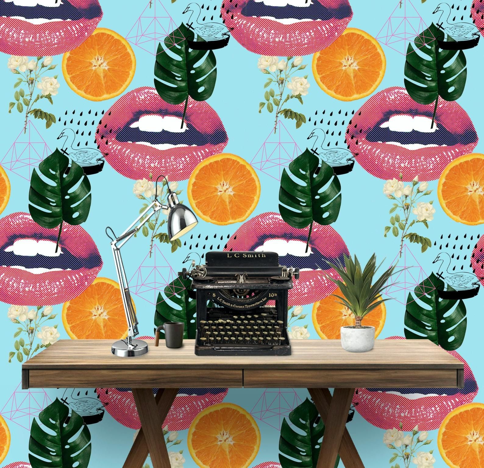 Orange Lips Wall Covering Art Removable SelfAdhesive
