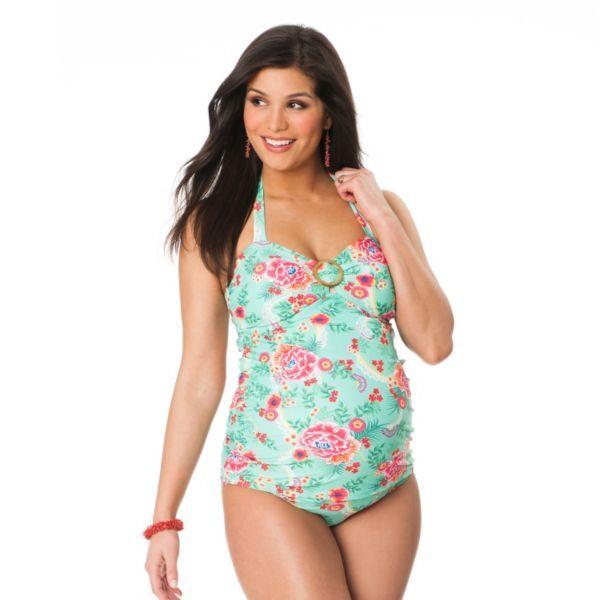 751cc133c8367 Oh Baby By Motherhood Floral Halterkini Top And Scoop Bottom Swim Set