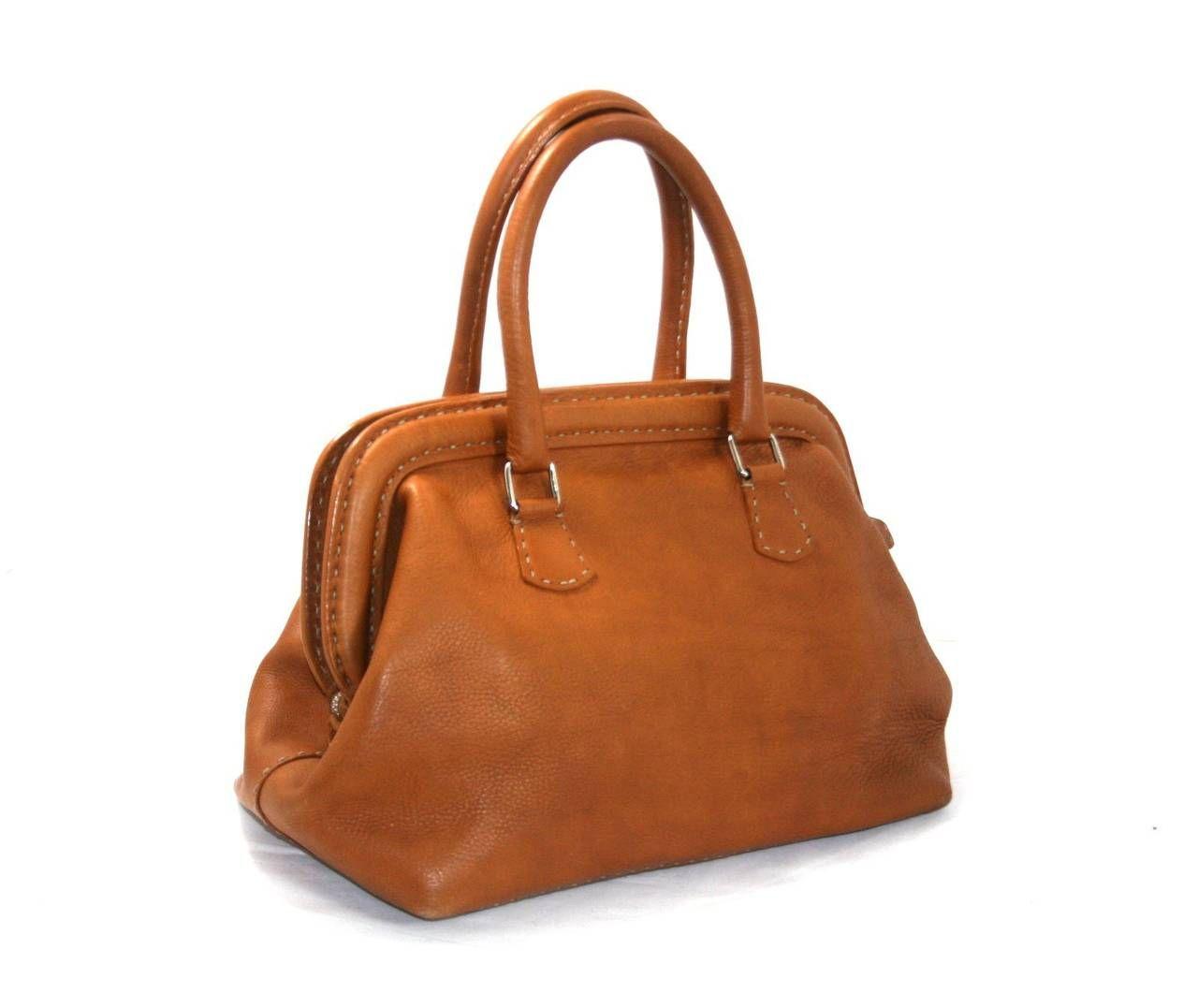 a0ec9245cce3 Fendi Cognac Selleria Leather Medium Doctor Bag