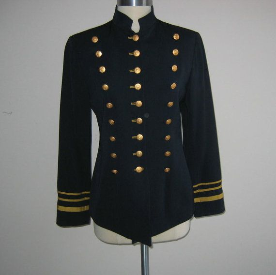 Vintage Military Inspired Women's Jacket Navy with Gold Size 6 ...