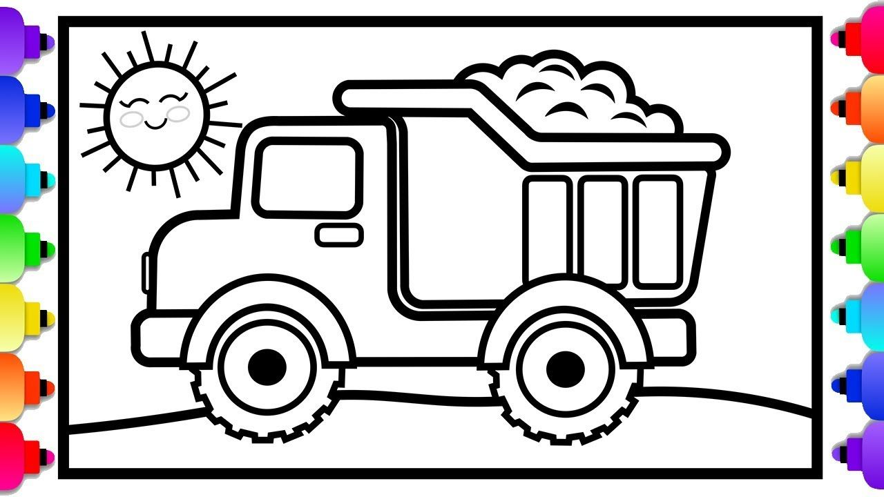 Toy Dump Truck Coloring And Drawing For Kids Dump Truck